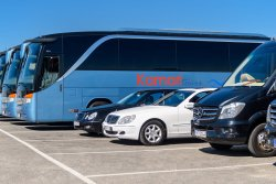 Kamari Tours Busses and cars fleet in Santorini island